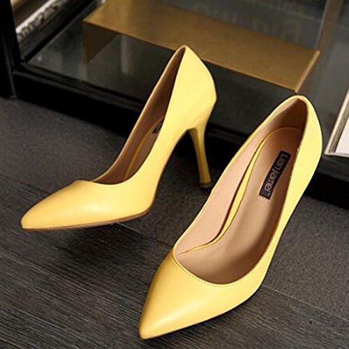Jia Verano Tacones Altos Chang Elegantes Ayuda Con Pin Inclinado Zapatos De  Cuero Size Sexy Bien Trabajo Firm Solo 35 Shi Femenino color Ren ... 16759025fff6