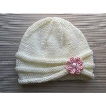 Patron de Tricot Bonnet a Bord Roule avec une Fleur pour une Petite Fille (6-9 mois et 2-4 ans) (French Edition)