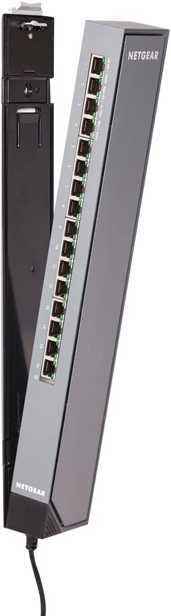 NETGEAR 16-Port Gigabit Ethernet Smart Managed Plus Switch (GSS116E) - with Virtually Anywhere CLICK Mount System, and ProSAFE Lifetime Protection