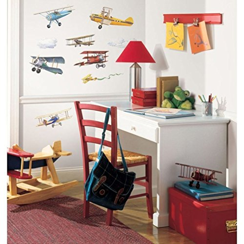 Decal Great Set Planes (Lunarland VINTAGE PLANES 22 Wall Stickers Airplane clouds Biplane Room Decor Decals Boys)