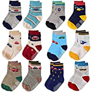 Toddler Socks Kids Non Slip Socks for Boys Girls 12 Pairs Tphon Baby Socks With Grips for 1-7 Years Children