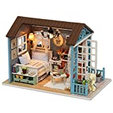 CUTEBEE Mini Wooden Dollhouse with Furnitures DIY Dollhouse Kit Plus Dust Proof and Music Box (Forest time)