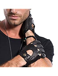 MATSU Men's Soft Motorcycle Driving Leather Gloves Available for Rivets DIY M1047