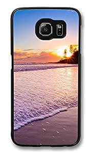 VUTTOO Rugged Samsung Galaxy S6 Edge Case, Sunset At The Beach Customize Hard Back Case for Samsung Galaxy S6 Edge PC Black