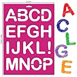 Karty Letter Stencils - Large Size Alphabet, Numeric, and Symbols - Reusable Plastic Kit