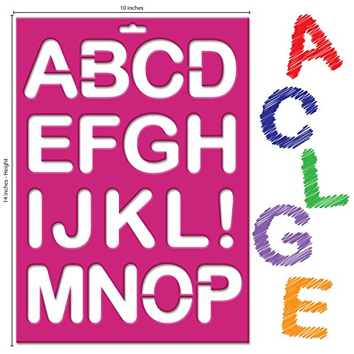 Karty Large Letter Stencils Reusable Plastic Kit includes 26 Letters, 10 Numbers and 11 Symbols