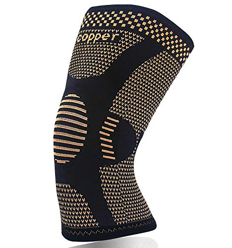 Copper Knee Brace for Arthritis Pain and Support-Copper knee sleeve Compression for Sports, Workout,Arthritis Relief-Single