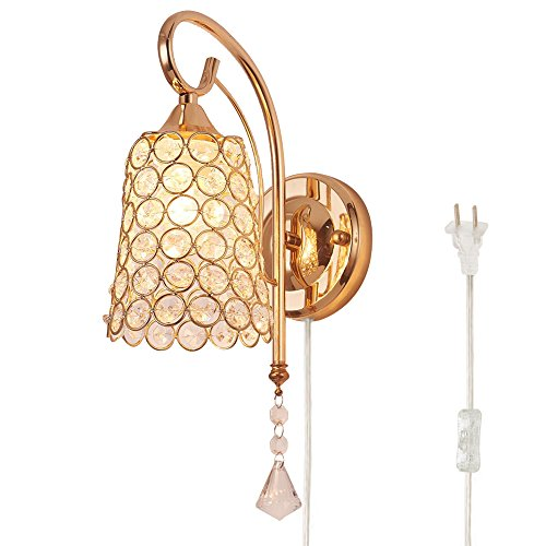 Kiven Modern Crystal Bedroom Plug in Wall Light,with A Button Switch Bulb Not Included [BD0386]