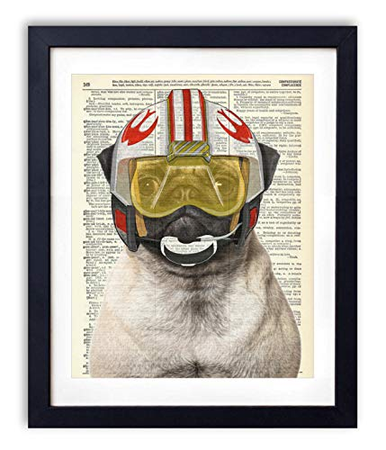 Rebel Pilot Pug - Star Wars Inspired Kids Bedroom Wall Decor - Vintage Wall Art Upcycled Dictionary Art Print Poster For Kids Room Decor 8x10 inches, Unframed ()