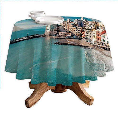 - Farm House Decor Round Polyester Tablecloth,Panorama of Old Italian Fish Village Beach Old Province Coastal Charm Image,Dining Room Kitchen Round Table Cover,60