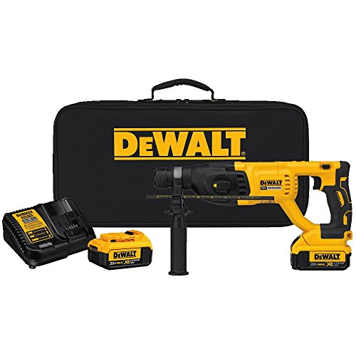 "- DEWALT DCH133M2 20V Max XR Brushless 1"" D-Handle Rotary Hammer Kit"