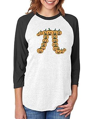 Pumpkin Pi Halloween Pumpkin Pie Funny 3/4 Women Sleeve Baseball Jersey Shirt