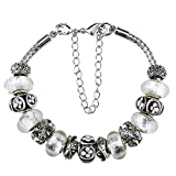 """Charm Bracelets and Charm for Pandora for Women Silver Plated White Silver Foil 7.5""""+3"""" Extender"""