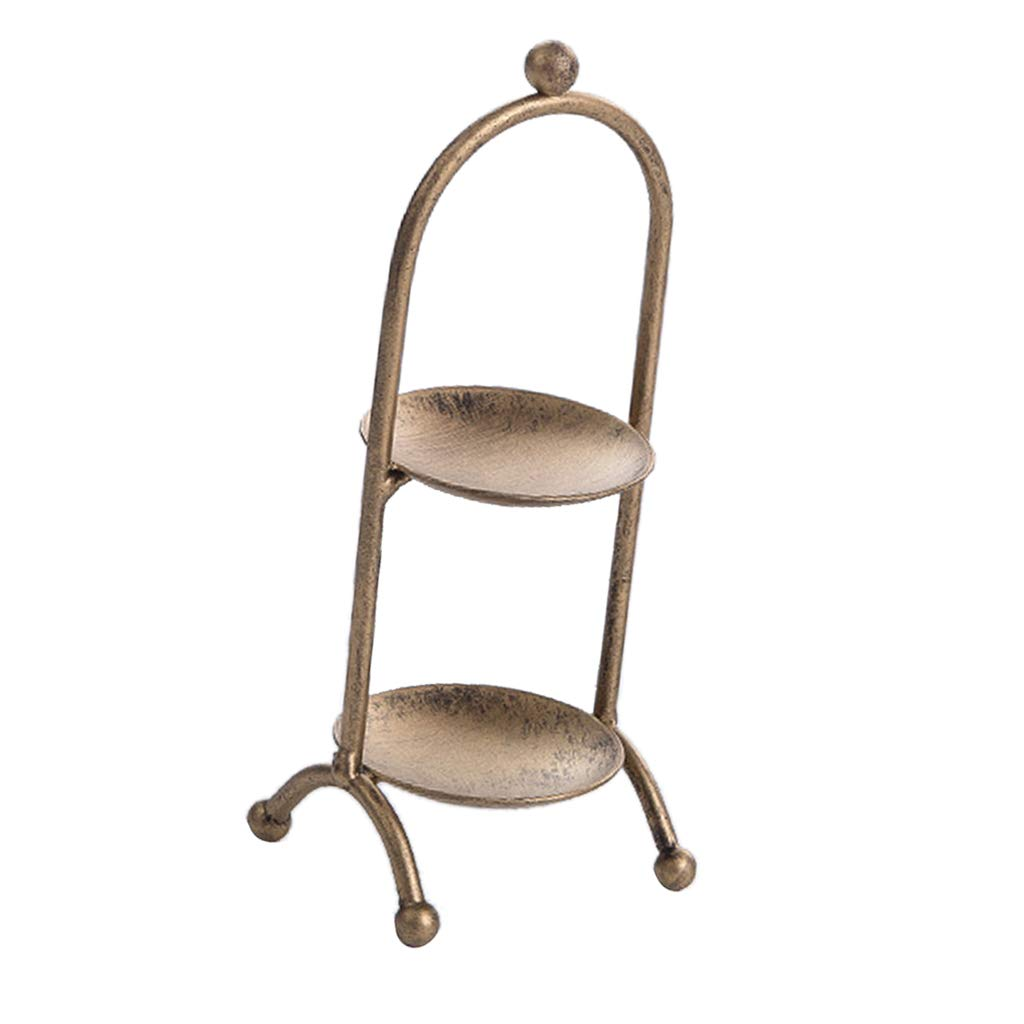 D DOLITY 2 Tier Macaron Tower Cupcake Stand Serving Cake Muffin Food Party Rack - Champagne