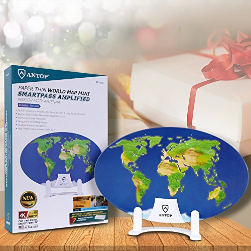 Indoor Amplified TV Antenna, ANTOP Digital HDTV Antenna, 55 Mile Range Omni-directional 360 Degree Reception - 3D World Map Design for Christmas/Thanksgiving/Veterans Gift