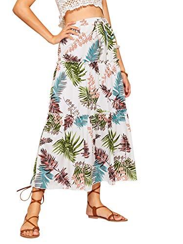 Tropical Print Skirt - WDIRARA Women's Casual Long Tropical Print Tie Front Maxi Skirt White L