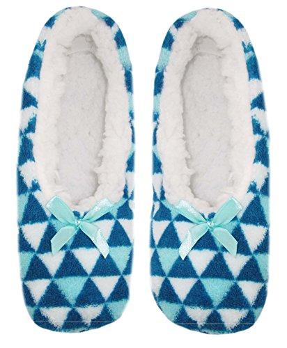 Sherpa Slipper Blue Socks Lined Fleece Womens triangles Cozy qxwCgSE