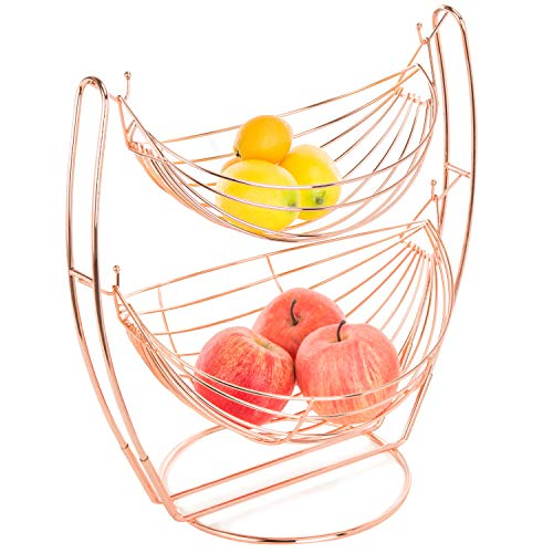 (Rose Gold-Tone Metal 2-Tier Hammock-Style Fruits & Produce Basket Rack - MyGift)