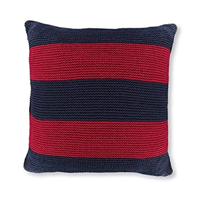"Nautica Crew Red Striped Knit Decorative Pillow, 18"", Navy - Nautica Striped knit decorative pillow, includes polyester insert Size is 18x18 Includes polyester insert - living-room-soft-furnishings, living-room, decorative-pillows - 51zqNHg1XuL. SS400  -"