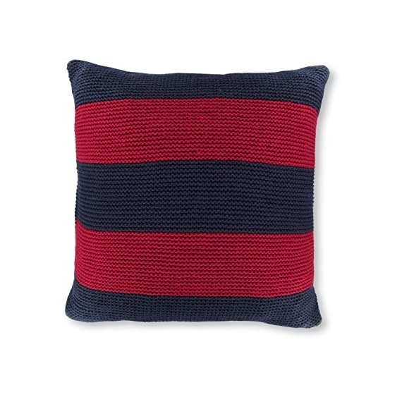 "Nautica Crew Red Striped Knit Decorative Pillow, 18"", Navy - Nautica Striped knit decorative pillow, includes polyester insert Size is 18x18 Includes polyester insert - living-room-soft-furnishings, living-room, decorative-pillows - 51zqNHg1XuL. SS570  -"
