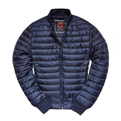 (TIGER FORCE Men's Lightweight Quilted Puffer Jacket Full Zip Cotton Padded Coat Insulated Active Softshell Bomber Outerwear Blue)