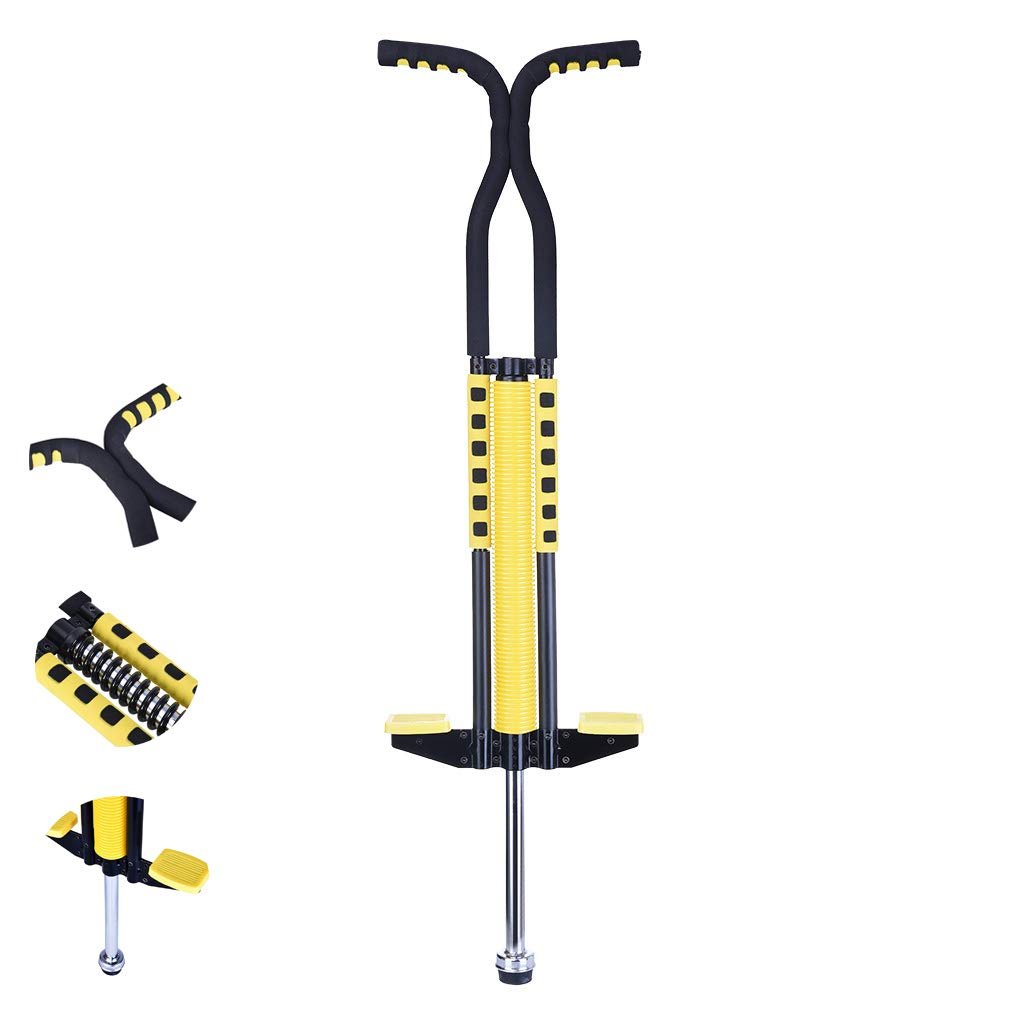 jujunshangmao Pogo Stick for Kids Boys & Girls Ages 8 & Up, 50 to 130 Lbs - Awesome Fun Quality Pogo Stick for Boys & Girls (Yellow) (Yellow) by jujunshangmao