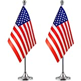 USA American Desk Flag Small Mini US Table Flag with Stand Base,4th of July,Veterans Day,Memorial Day Office Table Decorations