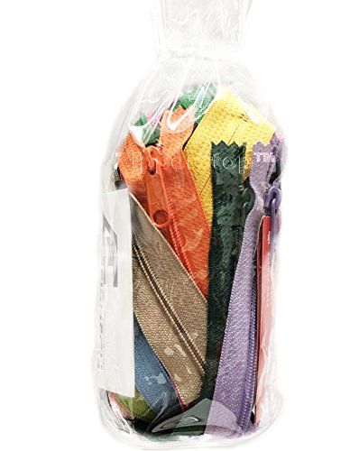 Zipperstop - Fashion Trends YKK #4.5 Handbag Long Pull Zippers Sewer Crafter's Special - Made in USA pack in White Cord W/Piping Vinyl Cylinder Bag (10 Inch 10 Zippers, Assorted Season Colors)
