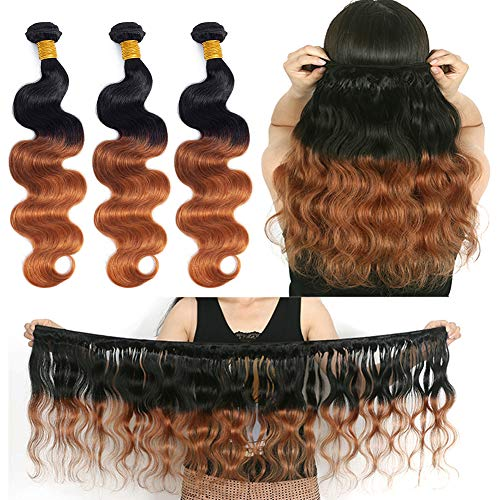 Ombre Brazilian Hair Body Wave Bundles 3pcs,Ombre Brazilian Virgin Hair Human Hair Weave (T1B/30,141618)