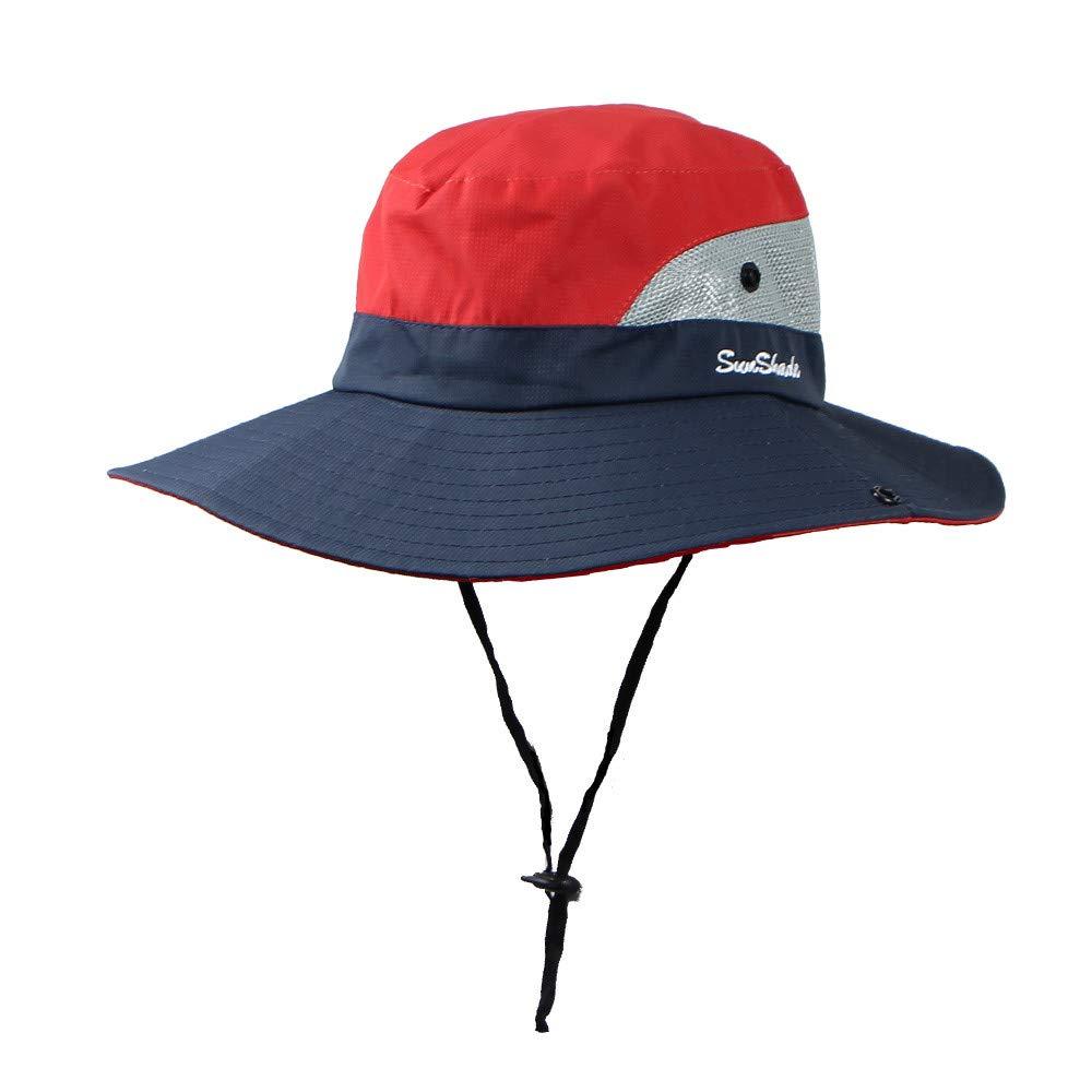 Spring Summer Outdoor Foldable Mesh Wide Brim Kids Fisherman Visor Hat for Girls/&Boy Waymine Red