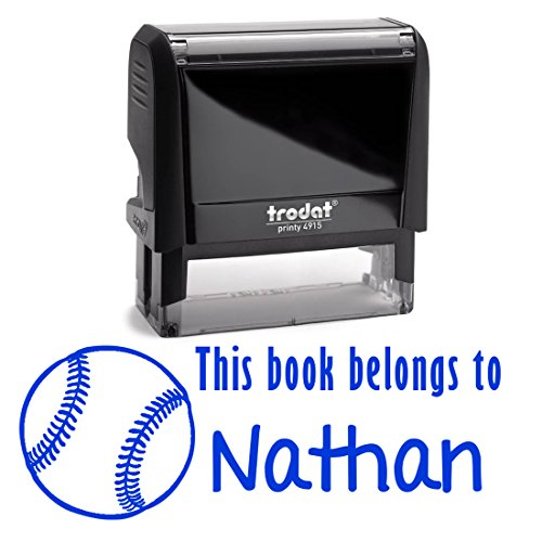 (Blue Ink, Personalized Base Ball Soft Ball Self Inking Stamp. This Book Belongs To Kid's Stamper. Customized Library Book Labels. Great Stamping Gift for Students or Teachers.)