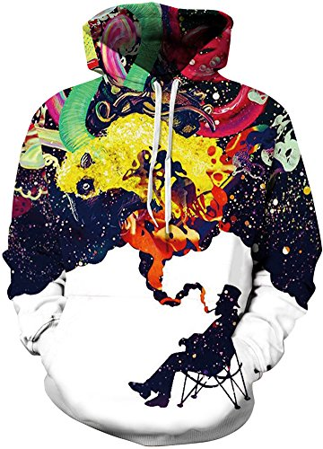 (Pandolah Men's Athletic 3D Animal Cosmic Galaxy Printed Hoodies Sweatshirts (S/M, Smoke Man))