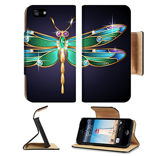 MSD Premium Apple iPhone 5 iphone 5S Flip Pu Leather Wallet Case Beauty jewel dragonfly on blue background iPhone5 IMAGE 30291114