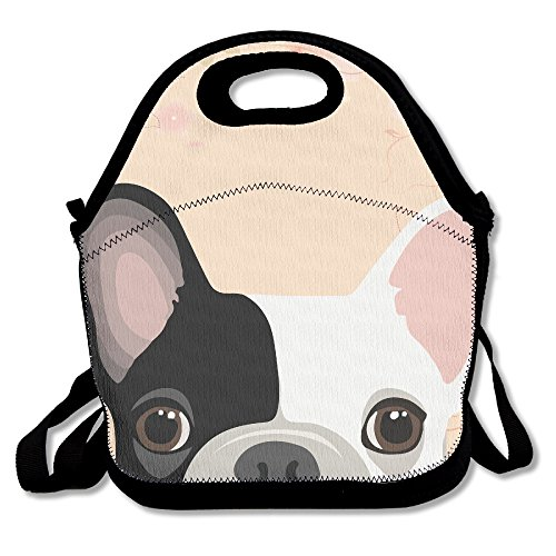 Cute French Bulldog Print Lunch Tote Insulated Reusable Picnic Lunch Bags Boxes For Men Women Adults Kids Toddler Nurses