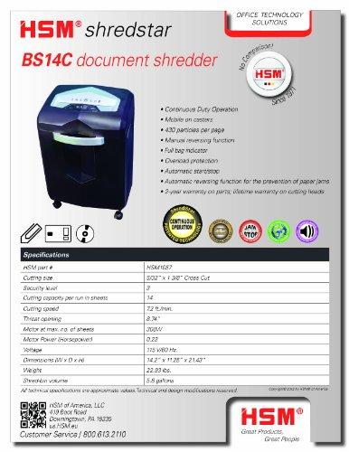HSM shredstar BS14C, 14-Sheet, Cross-Cut, 5.8-Gallon Capacity Continuous Operation Shredder