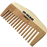 HIGH QUALITY Wooden Bamboo Beard and Wood Mustache Comb by Leven Rose - #1 TRUSTED in Beard Care - Static Free, No Snags - Perfect for a Beard Comb Kit - Get the Groomed Beard Look