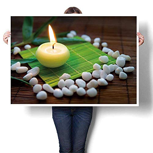 - Hanging Painting,Flaming Candle,White Stones and Bamboo Leaves a Composition symbolizing Ready to Hang for Home Decorations Wall Decor,24