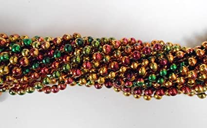 33 inch 07mm Round Metallic Purple Gold and Green Mardi Gras Beads 72 necklaces 6 Dozen