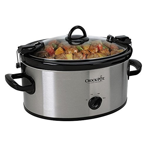 Portable Cook 6 Qt. And Carry Slow Cooker in Stainless, Dishwasher-safe Stoneware and Lid by...