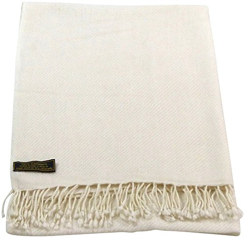 White High Grade 100% Cashmere Shawl Scarf Wrap Hand Made from Nepal NEW