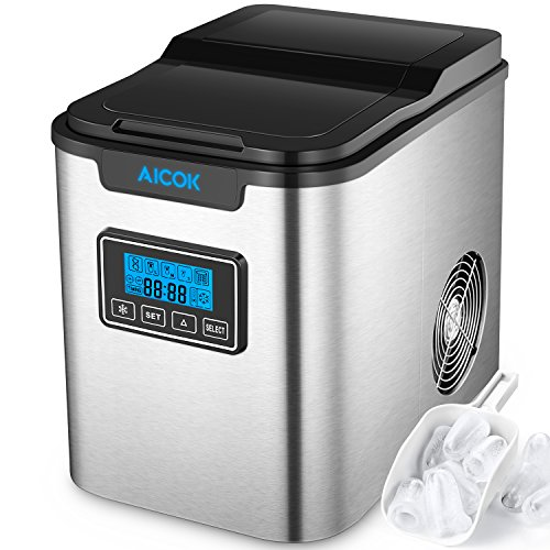 Aicok Portable Ice Maker, 26lbs Countertop Ice Machine with Self-clean Function, 26lbs Ice per 24 hours, 9 Ice Cubes ready in 7 Minutes, 2 Qt. Water Tank, LCD Display & Ice Scoop, Stainless Steel