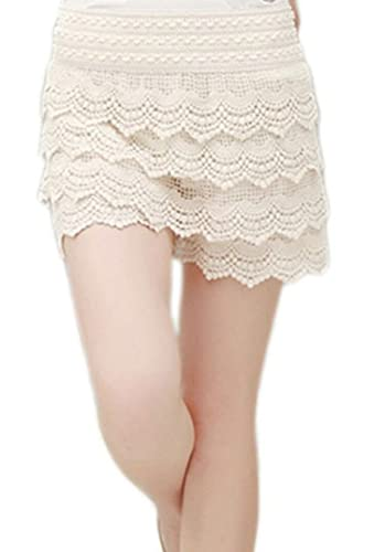 ACHICGIRL Women Vintage High Waist Lace Shorts