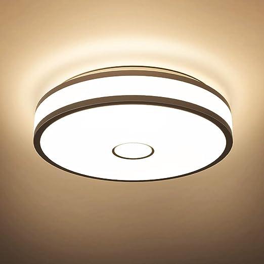 Onforu 18w Plafonnier Led Salle De Bains Imperméable Rond Mince Ip65 Irc90 1600lm 2700k Blanc Chaud Lampe De Plafond Moderne Pour Chambre