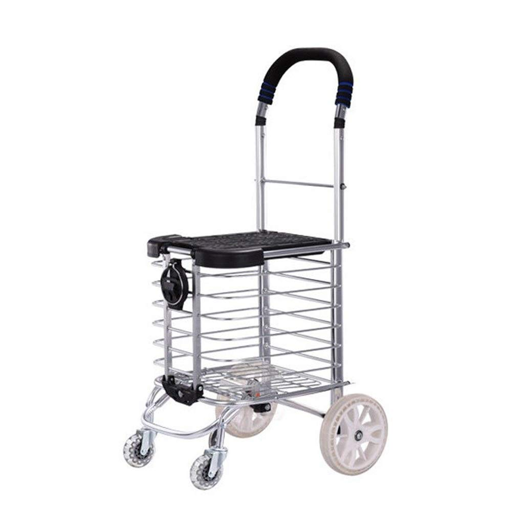 Lxrzls Old People Shopping Trolley - Household Portable Small Cart - Foldable Luggage Grocery Cart - Multi-Functional - Four Rounds