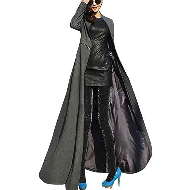 0c2adbf1eed5 Longra Damen Rollkragen Wintermantel Wollmantel Lang Jacke Mantel mit  Reißverschluss Slim Fit Bodenlanges Langes Mantel Kleid