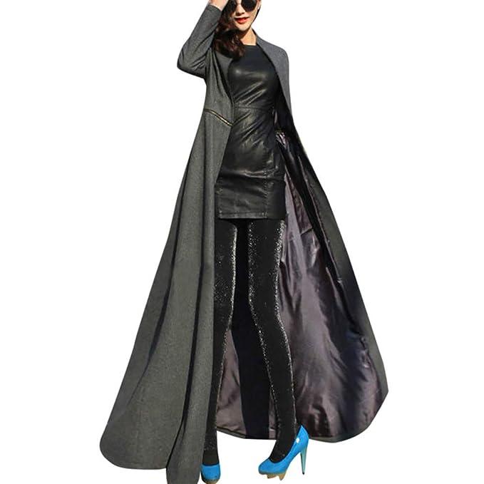 Longra Damen Rollkragen Wintermantel Wollmantel Lang Jacke Mantel mit Reißverschluss Slim Fit Bodenlanges Langes Mantel Kleid Elegante Trenchcoat
