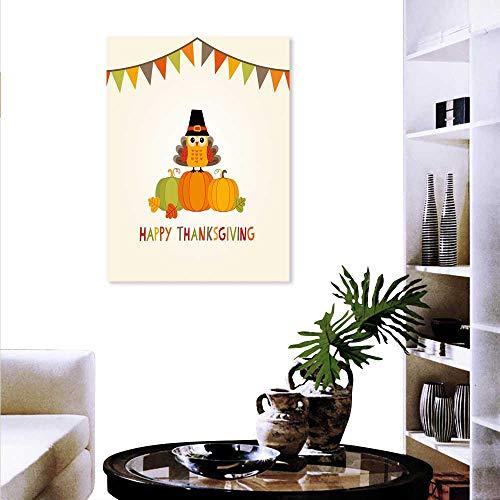 Turkey Art-Canvas Prints Little Bird Sitting on Pumpkins Pilgrims Hat Festive Autumn Holiday Design Print Paintings Home Wall Office Decor 20