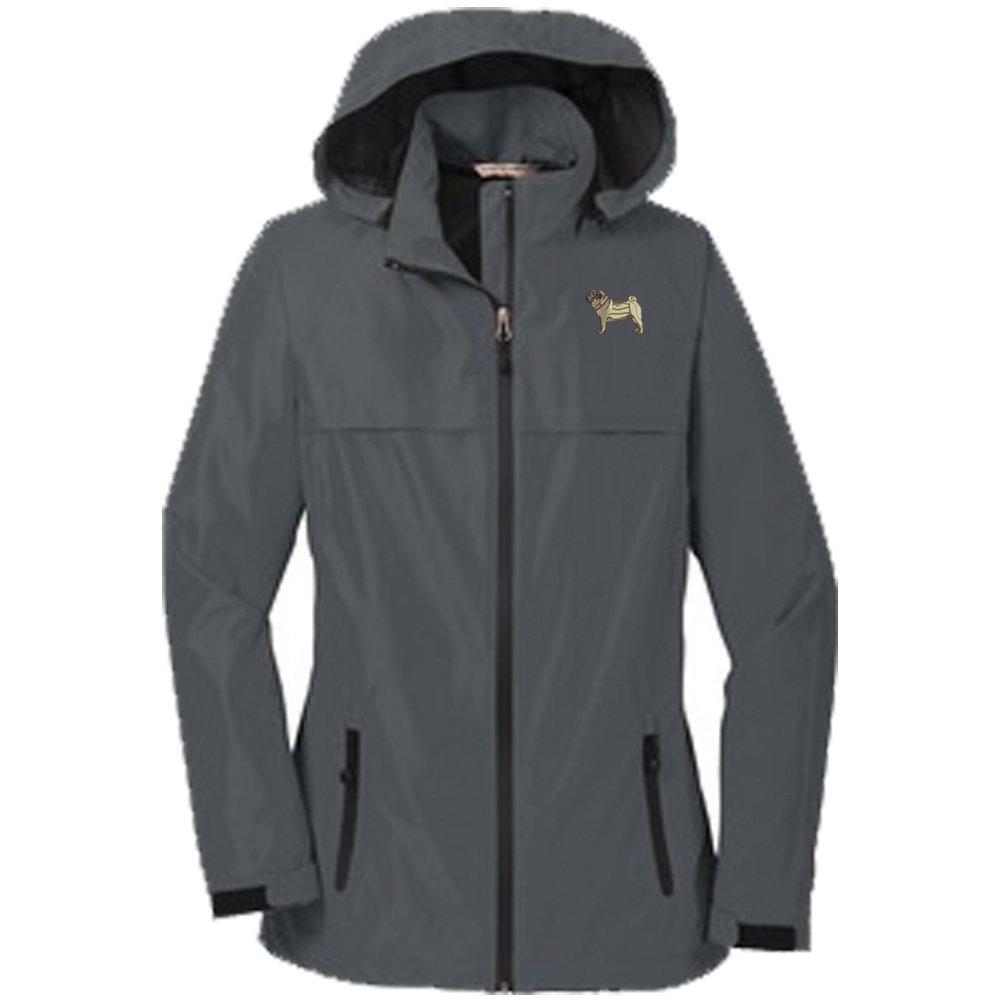 YourBreed Clothing Company Pug Fawn Ladies Rain Jacket