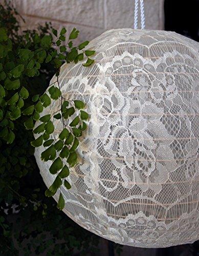 Quasimoon PaperLanternStore.com 12 Inch Beige/Ivory Lace Fabric Lantern, Even Ribbing, Hanging ()