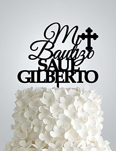 Personalized Mi Bautizo Acrylic Cake Topper, Baptism Acrylic Cake Topper, Christening Cake Topper, Any name